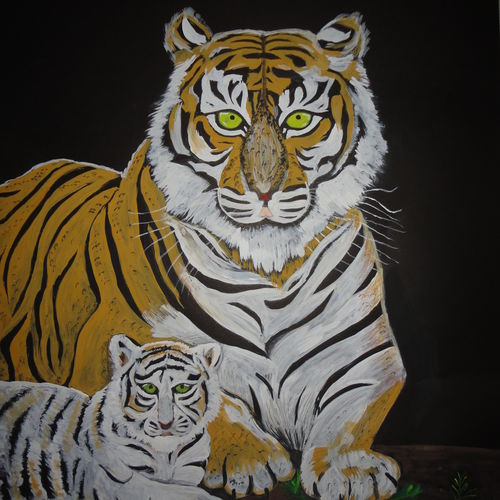 tiger with cub, 22 x 28 inch, ranjita panda,paintings,animal paintings,paintings for dining room,paintings for living room,paintings for bedroom,paintings for kids room,paintings for school,thick paper,poster color,22x28inch,GAL0583913967