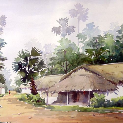 road side village , 15 x 12 inch, samiran sarkar,landscape paintings,nature paintings,realism paintings,contemporary paintings,paintings for dining room,paintings for living room,paintings for bedroom,paintings for office,paintings for hotel,paintings for kitchen,thick paper,watercolor,15x12inch,GAL0574913971Nature,environment,Beauty,scenery,greenery