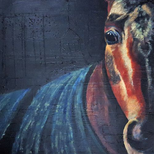 the arabian stallion, 16 x 16 inch, alakananda ghoshal,paintings,horse paintings,paintings for dining room,paintings for living room,paintings for bedroom,paintings for office,paintings for hotel,paintings for hospital,canvas,acrylic color,16x16inch,GAL0584113973