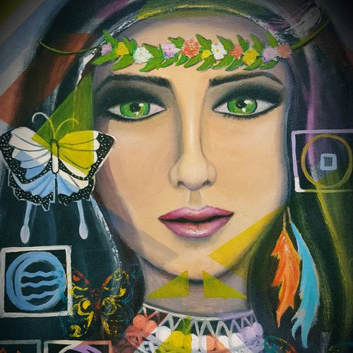lady earth, 24 x 30 inch, alakananda ghoshal,paintings,modern art paintings,conceptual paintings,portrait paintings,paintings for dining room,paintings for living room,paintings for bedroom,paintings for office,paintings for hotel,paintings for hospital,canvas,oil,24x30inch,GAL0584113974