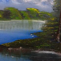 beautiful evening , 16 x 20 inch, suresh kyatham ,nature paintings,paintings for living room,canvas,oil,16x20inch,GAL04471398Nature,environment,Beauty,scenery,greenery