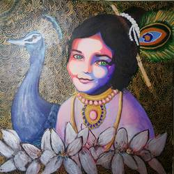 face of innocence, 30 x 30 inch, alakananda ghoshal,abstract paintings,religious paintings,abstract expressionist paintings,radha krishna paintings,contemporary paintings,paintings for living room,paintings for office,paintings for hotel,paintings for hospital,canvas,acrylic color,30x30inch,GAL0584113980,baby krishna,krishna,lordkrishna,flute,peacock,