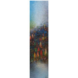 banarsh ghat, 12 x 48 inch, m. singh,paintings,abstract paintings,paintings for living room,canvas,acrylic color,12x48inch,GAL0537713982