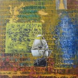 treasure hunt series-6, 12 x 12 inch, ashish  sarkar,paintings,conceptual paintings,contemporary paintings,paintings for dining room,paintings for living room,paintings for bedroom,paintings for office,paintings for hotel,modern art paintings,canvas,acrylic color,12x12inch,GAL0584913987