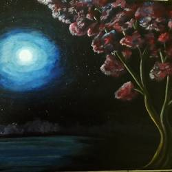 blue moon, 12 x 16 inch, mrinalini pandey,paintings,flower paintings,landscape paintings,paintings for dining room,paintings for living room,paintings for dining room,paintings for living room,canvas,acrylic color,12x16inch,GAL0493013995