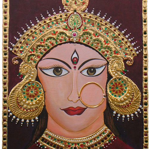 divine power- maa durga, 19 x 25 inch, neeraj parswal,religious paintings,paintings for living room,tanjore paintings,ply board,acrylic color,19x25inch,GAL0114