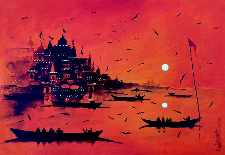 varanasi ghat-36, 8 x 11 inch, girish chandra vidyaratna,landscape paintings,paintings for dining room,paintings,renaissance watercolor paper,acrylic color,8x11inch,GAL036140