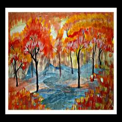 the forest, 28 x 16 inch, huma sadiya,nature paintings,paintings for bedroom,thick paper,watercolor,28x16inch,GAL05631400Nature,environment,Beauty,scenery,greenery