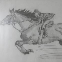 man riding on a horse, 24 x 34 inch, sakina attarwala,abstract drawings,paintings for living room,horse paintings,thick paper,pencil color,24x34inch,GAL05771401