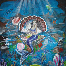 underwater mermaid with pearl, 23 x 31 inch, ranjita panda,paintings,nature paintings,paintings for living room,paintings for bathroom,handmade paper,poster color,23x31inch,GAL0583914013Nature,environment,Beauty,scenery,greenery