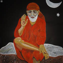 sai baba, 22 x 28 inch, ranjita panda,paintings,religious paintings,paintings for living room,paintings for bedroom,paintings for office,paintings for hotel,paintings for school,paintings for hospital,thick paper,poster color,22x28inch,GAL0583914014
