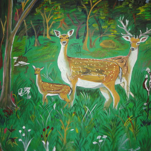 deer in jungle, 28 x 23 inch, ranjita panda,paintings,wildlife paintings,paintings for dining room,paintings for living room,paintings for kids room,paintings for school,thick paper,poster color,28x23inch,GAL0583914015