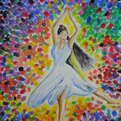 dancing girl, 11 x 14 inch, ranjita panda,paintings,abstract paintings,drawing paper,poster color,11x14inch,GAL0583914017