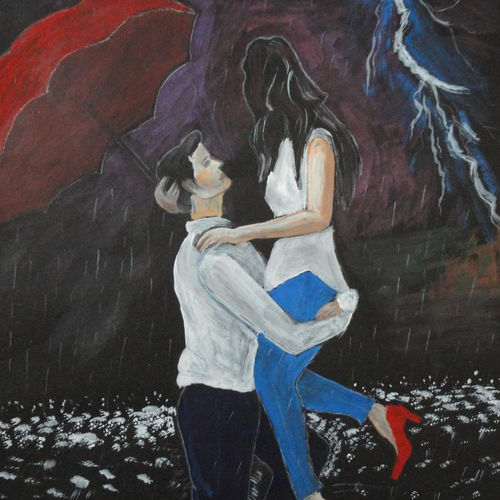 romantic couple in the rain, 11 x 14 inch, ranjita panda,paintings,love paintings,paintings for living room,paintings for bedroom,paintings for bathroom,drawing paper,mixed media,11x14inch,GAL0583914019heart,family,caring,happiness,forever,happy,trust,passion,romance,sweet,kiss,love,hugs,warm,fun,kisses,joy,friendship,marriage,chocolate,husband,wife,forever,caring,couple,sweetheart