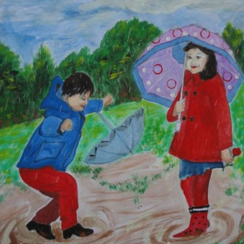kids in the rain, 11 x 14 inch, ranjita panda,paintings,kids paintings,paintings for living room,paintings for kids room,paintings for school,drawing paper,mixed media,11x14inch,GAL0583914021