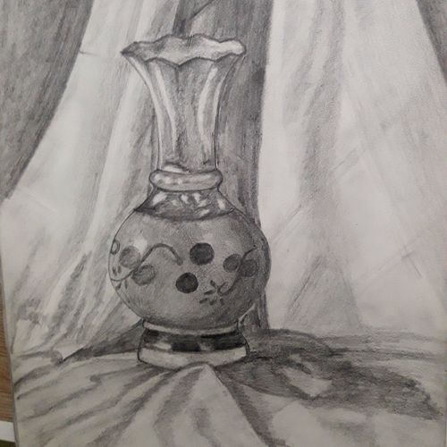 the still life, 12 x 17 inch, mrinalini pandey,paintings for dining room,paintings for living room,paintings for bedroom,paintings for bathroom,paintings for hotel,fine art drawings,modern drawings,cartridge paper,graphite pencil,12x17inch,GAL0493014025