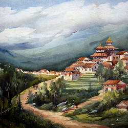himalayan village in nepal, 30 x 22 inch, samiran sarkar,landscape paintings,nature paintings,art deco paintings,expressionist paintings,photorealism paintings,realism paintings,contemporary paintings,realistic paintings,paintings for dining room,paintings for living room,paintings for bedroom,paintings for office,paintings for hotel,handmade paper,watercolor,30x22inch,GAL0574914030Nature,environment,Beauty,scenery,greenery