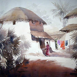 rural village house, 30 x 22 inch, samiran sarkar,landscape paintings,modern art paintings,nature paintings,realism paintings,contemporary paintings,realistic paintings,paintings for dining room,paintings for living room,paintings for bedroom,paintings for office,paintings for hotel,paintings for kitchen,paintings for school,paintings for hospital,handmade paper,watercolor,30x22inch,GAL0574914031Nature,environment,Beauty,scenery,greenery