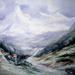 beauty of himalaya , 30 x 22 inch, samiran sarkar,paintings,landscape paintings,conceptual paintings,nature paintings,photorealism paintings,realism paintings,contemporary paintings,paintings for dining room,paintings for living room,paintings for bedroom,paintings for office,paintings for hotel,paintings for kitchen,paintings for school,paintings for hospital,handmade paper,watercolor,30x22inch,GAL0574914032Nature,environment,Beauty,scenery,greenery
