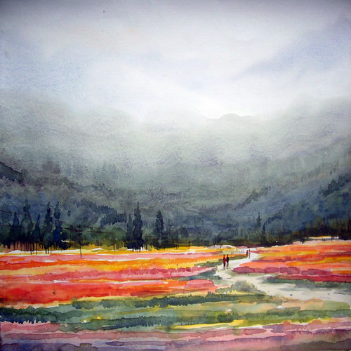 flower valley, 22 x 11 inch, samiran sarkar,paintings,landscape paintings,conceptual paintings,nature paintings,impressionist paintings,photorealism paintings,realism paintings,contemporary paintings,realistic paintings,paintings for dining room,paintings for living room,paintings for bedroom,paintings for office,paintings for hotel,paintings for kitchen,paintings for school,paintings for hospital,thick paper,watercolor,22x11inch,GAL0574914034Nature,environment,Beauty,scenery,greenery