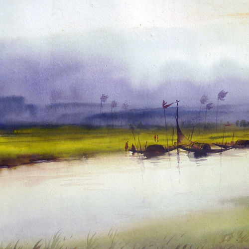 rural river at monsoon, 22 x 11 inch, samiran sarkar,paintings,landscape paintings,conceptual paintings,nature paintings,expressionist paintings,realism paintings,contemporary paintings,paintings for dining room,paintings for living room,paintings for bedroom,paintings for office,paintings for hotel,paintings for kitchen,paintings for school,paintings for hospital,renaissance watercolor paper,watercolor,22x11inch,GAL0574914035Nature,environment,Beauty,scenery,greenery