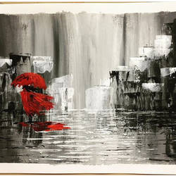the lady in red, 12 x 15 inch, bidisha moulik,paintings,abstract paintings,cityscape paintings,conceptual paintings,canvas,acrylic color,12x15inch,GAL0585714044
