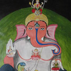 lord ganesha, 26 x 31 inch, ranjita panda,paintings,religious paintings,ganesha paintings,paintings for living room,paintings for bedroom,paintings for office,paintings for kids room,paintings for hotel,paintings for school,paintings for hospital,canvas,acrylic color,26x31inch,GAL0583914055,vinayak,ekadanta,ganpati,lambodar,peace,devotion,religious,lord ganesha,lordganpati