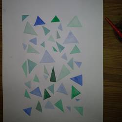 triangles, 8 x 11 inch, aditya verma,paintings,abstract paintings,drawing paper,poster color,8x11inch,GAL0588014056