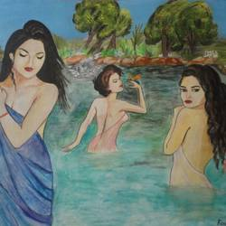 bathing girls, 31 x 26 inch, ranjita panda,paintings,modern art paintings,paintings for living room,paintings for bedroom,paintings for bathroom,canvas,acrylic color,oil,31x26inch,GAL0583914058