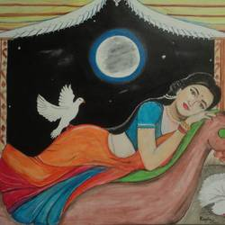 dreaming lady, 31 x 26 inch, ranjita panda,paintings,realism paintings,paintings for dining room,paintings for living room,paintings for bedroom,paintings for office,paintings for hotel,paintings for kitchen,canvas,acrylic color,oil,31x26inch,GAL0583914059