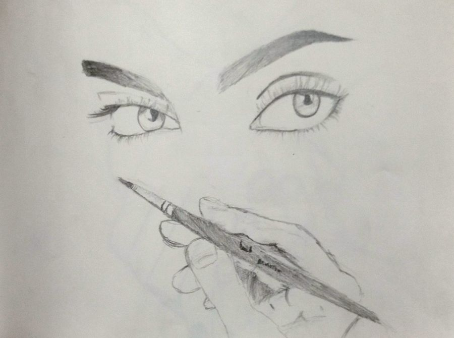 the beauty, 8 x 12 inch, raasi chenna,conceptual drawings,thick paper,pencil color,8x12inch,GAL05101406