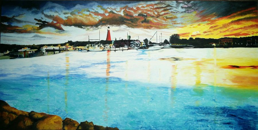 south florida port , 36 x 18 inch, preksha jain,paintings,nature paintings,paintings for living room,paintings for office,paintings for hotel,canvas,oil,36x18inch,GAL0213814071Nature,environment,Beauty,scenery,greenery