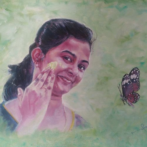 butterfly beauty , 20 x 16 inch, mahesh pawar,paintings,abstract paintings,figurative paintings,portrait paintings,nature paintings,expressionist paintings,impressionist paintings,photorealism paintings,photorealism,portraiture,realism paintings,realistic paintings,love paintings,paintings for dining room,paintings for living room,paintings for bedroom,paintings for hotel,paintings for hospital,paintings for dining room,paintings for living room,paintings for bedroom,paintings for hotel,paintings for hospital,canvas board,oil,20x16inch,GAL0225314074Nature,environment,Beauty,scenery,greenery