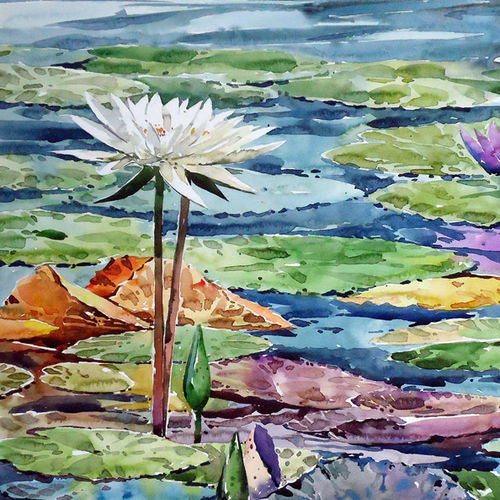 water lily pond, 21 x 15 inch, raji p,flower paintings,foil paintings,landscape paintings,still life paintings,nature paintings,paintings for dining room,paintings for living room,paintings for bedroom,paintings for office,paintings for kids room,paintings for hotel,paintings for school,paintings for hospital,water fountain paintings,canson paper,watercolor,21x15inch,GAL059014076Nature,environment,Beauty,scenery,greenery