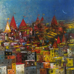 old city, 24 x 18 inch, m. singh,paintings,cityscape paintings,modern art paintings,paintings for dining room,paintings for living room,paintings for office,canvas,acrylic color,24x18inch,GAL0537714086