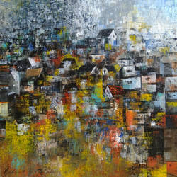 village of my dream, 24 x 24 inch, m. singh,abstract paintings,cityscape paintings,canvas,acrylic color,24x24inch,GAL0537714087