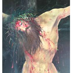 crucified christ, 18 x 24 inch, amal sasikumar,paintings,religious paintings,paintings for office,canvas,natural color,oil,18x24inch,GAL0581814088
