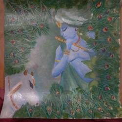 krishna , 10 x 10 inch, pramod singh,paintings,religious paintings,paintings for dining room,paintings for living room,paintings for bedroom,paintings for dining room,paintings for living room,paintings for bedroom,ivory sheet,oil,10x10inch,GAL0587114091