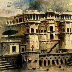 beautiful old architecture varanasi ghat, 7 x 11 inch, girish chandra vidyaratna,landscape paintings,paintings for dining room,paintings,handmade paper,watercolor,7x11inch,GAL036141