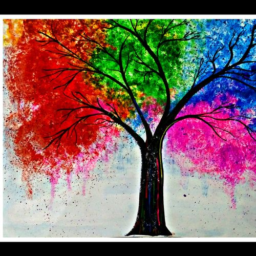 the tree of happiness, 28 x 16 inch, huma sadiya,nature paintings,paintings for dining room,thick paper,stone color,28x16inch,GAL05631410Nature,environment,Beauty,scenery,greenery,trees,colorful,beautiful,leaves