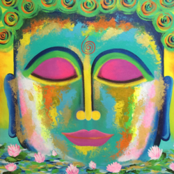 rising buddha , 26 x 30 inch, amita dand,paintings,buddha paintings,paintings for dining room,paintings for living room,paintings for office,paintings for hotel,canvas,acrylic color,mixed media,pastel color,26x30inch,religious,peace,meditation,meditating,gautam,goutam,buddha,colorful,blessing,GAL0146714110