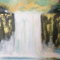 abstract waterfall, 16 x 20 inch, amita dand,paintings,abstract paintings,nature paintings,impressionist paintings,paintings for dining room,paintings for living room,paintings for office,paintings for hotel,paintings for hospital,canvas board,acrylic color,16x20inch,GAL0146714112Nature,environment,Beauty,scenery,greenery