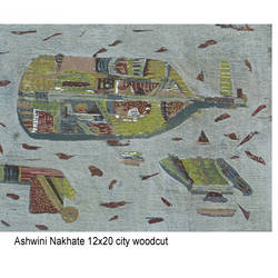 city, 20 x 12 inch, ashwini dadaji nakhate  nakhate ,drawings,expressionist drawings,paintings for office,handmade paper,ink color,20x12inch,GAL0592914115
