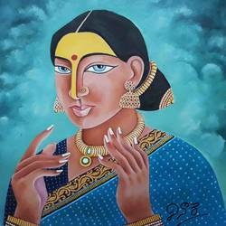 women , 21 x 21 inch, narayana reddy vanga ,paintings,figurative paintings,paintings for living room,paintings for bedroom,paintings for hotel,canvas,oil,21x21inch,GAL0579014117
