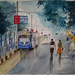 watercolor , 13 x 10 inch, sandeep  sharma ,paintings for living room,paintings for living room,figurative paintings,cityscape paintings,handmade paper,watercolor,13x10inch,GAL0594414119