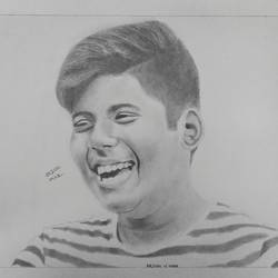 smiling boy, 11 x 17 inch, arjun v nair,portrait drawings,thick paper,graphite pencil,11x17inch,GAL0560414124
