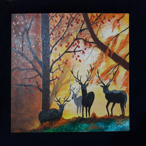deers in woods , 14 x 18 inch, swati agarwal,paintings,nature paintings,photorealism paintings,photorealism,surrealist paintings,animal paintings,realistic paintings,paintings for dining room,paintings for living room,paintings for bedroom,paintings for office,paintings for bathroom,paintings for kids room,paintings for hotel,paintings for kitchen,paintings for school,paintings for hospital,canvas,acrylic color,14x18inch,GAL0595214130Nature,environment,Beauty,scenery,greenery