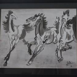 horses, 17 x 14 inch, nikita atreya,paintings,wildlife paintings,modern art paintings,paintings for dining room,paintings for living room,paintings for bedroom,paintings for office,paintings for hotel,paintings for dining room,paintings for living room,paintings for bedroom,paintings for office,paintings for hotel,thick paper,watercolor,17x14inch,GAL0560814137
