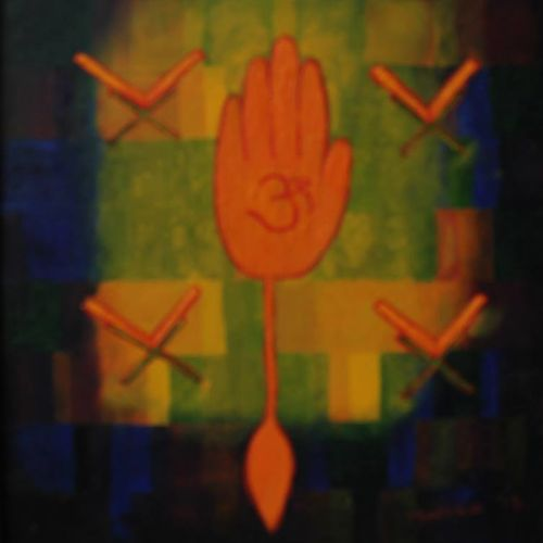 the guru, 16 x 20 inch, mallika bulusu,religious paintings,paintings for dining room,canvas,oil,16x20inch,GAL05811414