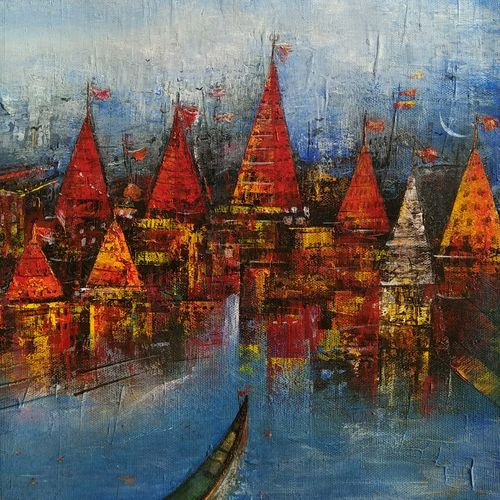 banaras ghat with red temple , 12 x 12 inch, m. singh,cityscape paintings,canvas,acrylic color,12x12inch,GAL0537714148